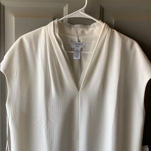 Carmen Marc Valvo Ivory Shirt Dress